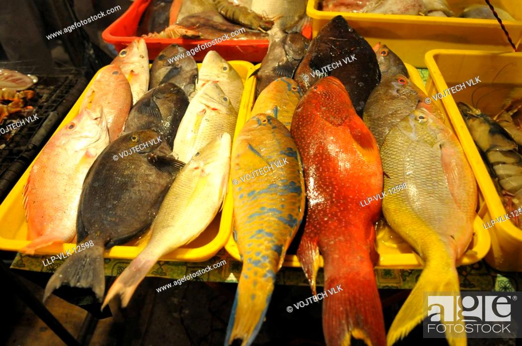 Stock Photo: The fishes on the fishing marketplace in Malaysia.