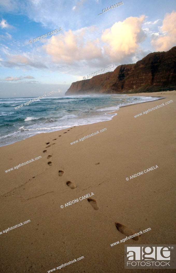 Stock Photo: Coast of Na Pali. Tracks on the beach. Kauai island. Hawaii.