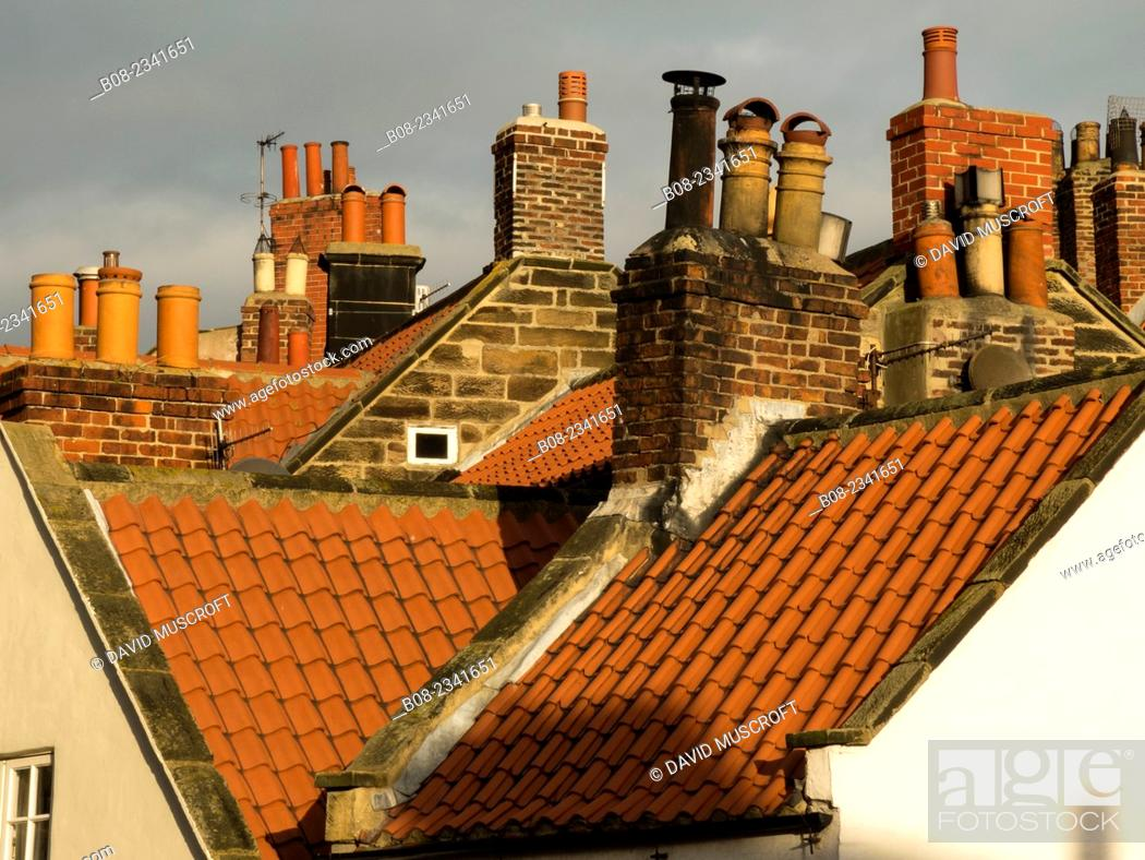 Stock Photo: house roofs at Robin Hoods Bay, Yorkshire,Britain.