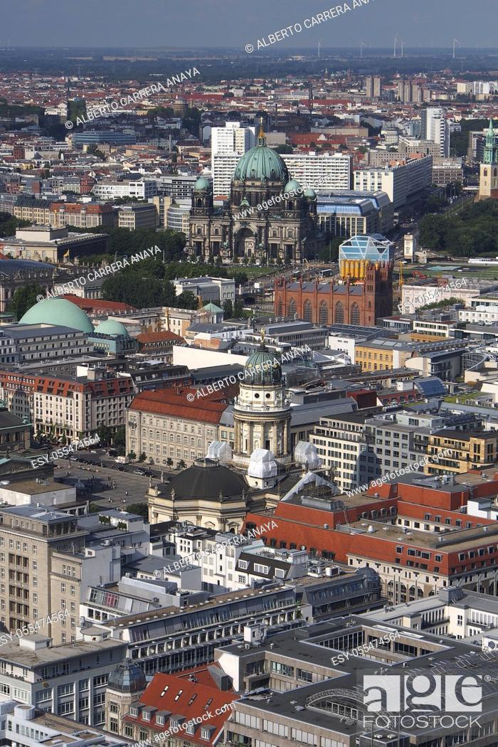 Stock Photo: Aerial panoramic view, Berlin, Germany, Europe.
