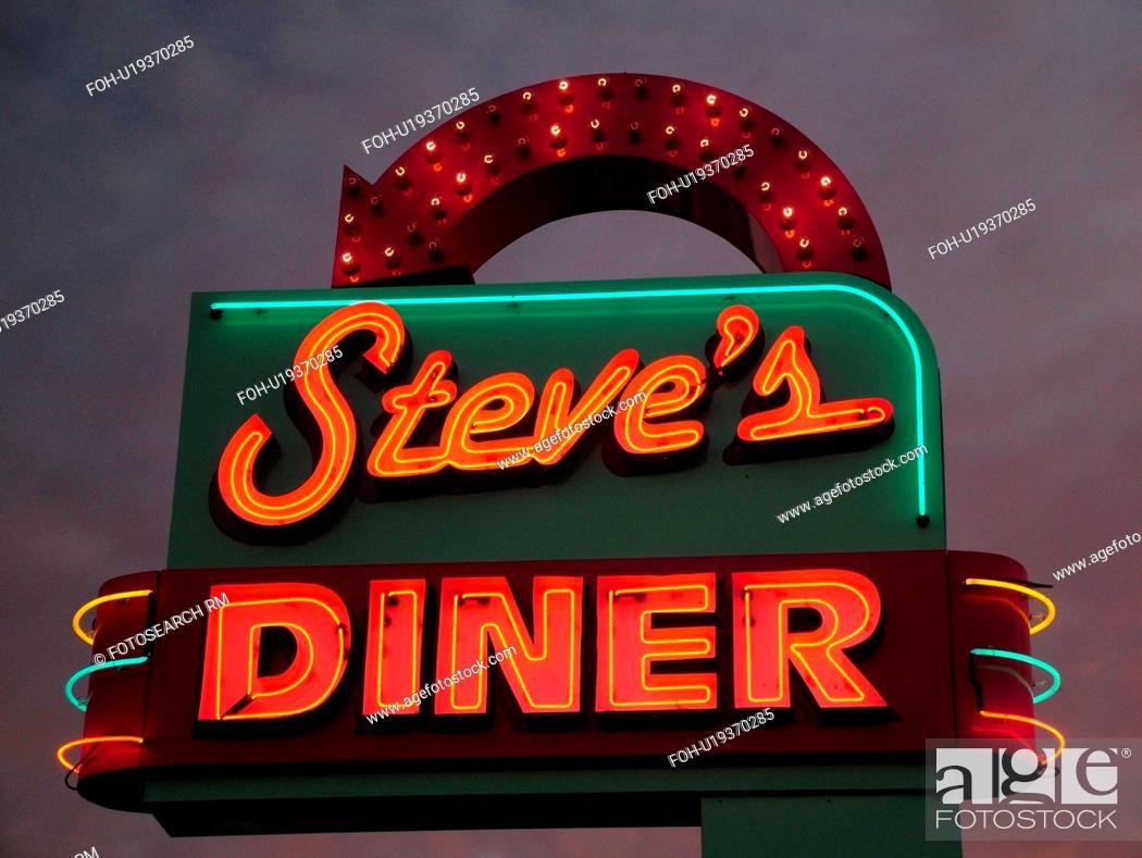 Canada, New Brunswick, Moncton, neon lights, Steve's Diner