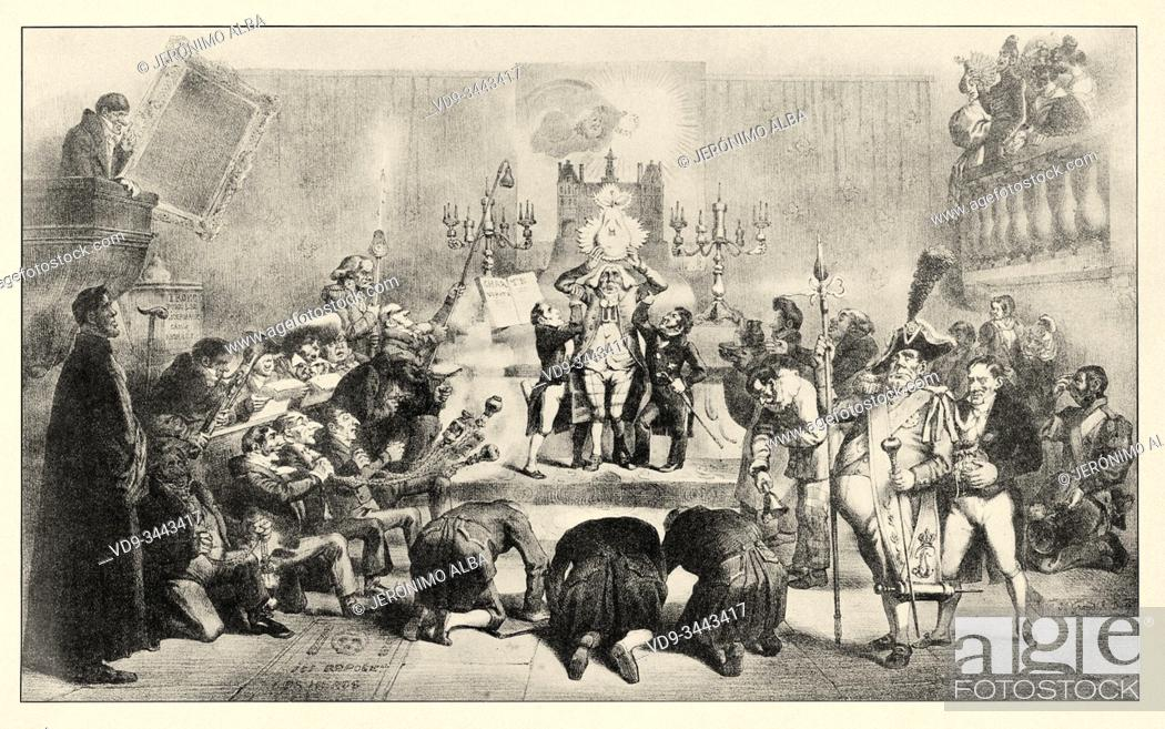 Stock Photo: Satirical image. Pear Elevator Advent of Louis Philippe 1, King of France 1830. History of France, old engraved illustration image from the book Histoire.