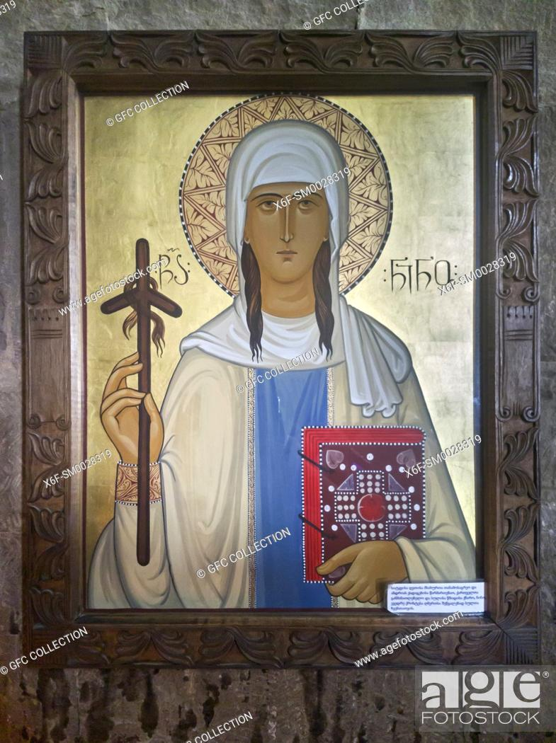 Stock Photo: Icon of Saint Nino holding a Grapevine Cross, Jvari Church, Georgia.