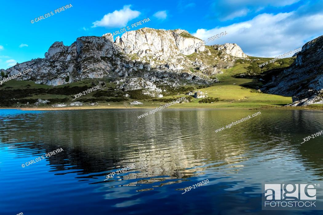 Stock Photo: Landscapes around Lake Enol, one of the famous lakes of Covadonga, Asturias , Spain.