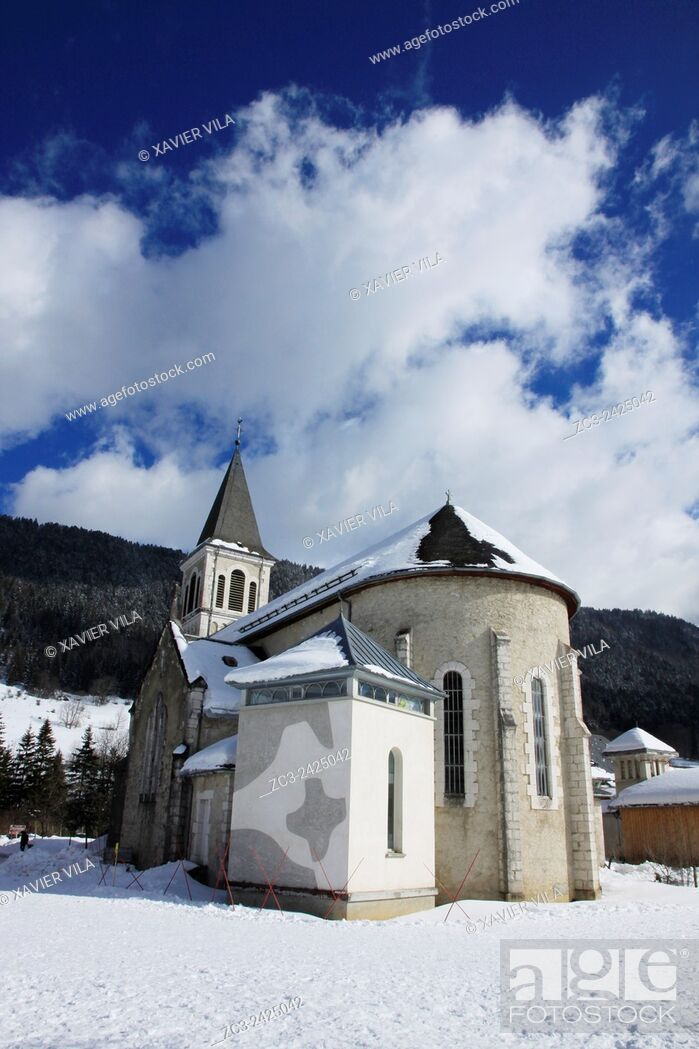 Stock Photo: Church of the ski resort of Saint Hugues en Chartreuse, Alps, Isere, Rhone Alpes, France.