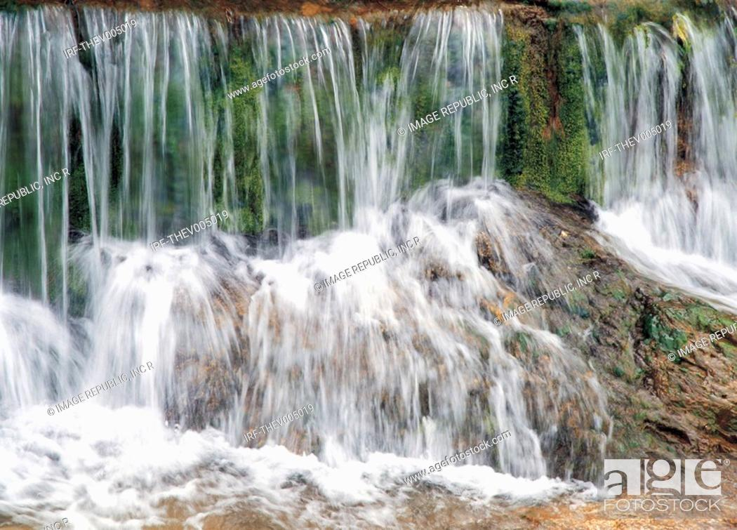 Stock Photo: water fall in valley.