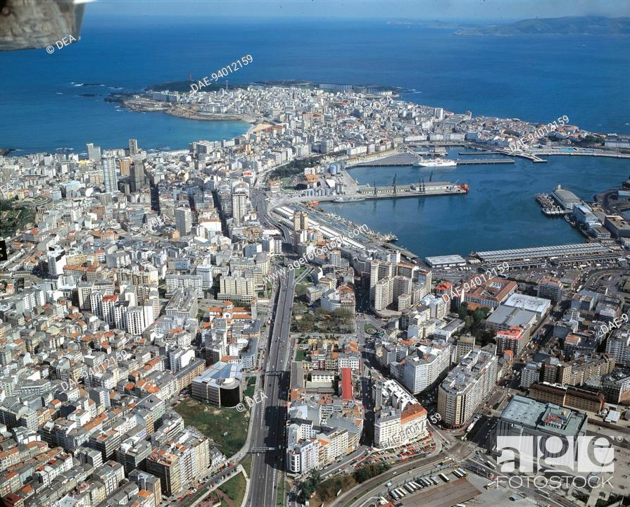 Stock Photo: Aerial view of A Coruna - Galicia, Spain.
