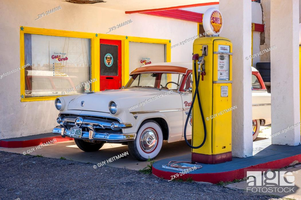 Abandoned Shell Gas Station Bisbee Arizona With A 50 S Ford Stock Photo Picture And Rights Managed Image Pic Zk9 2666936 Agefotostock