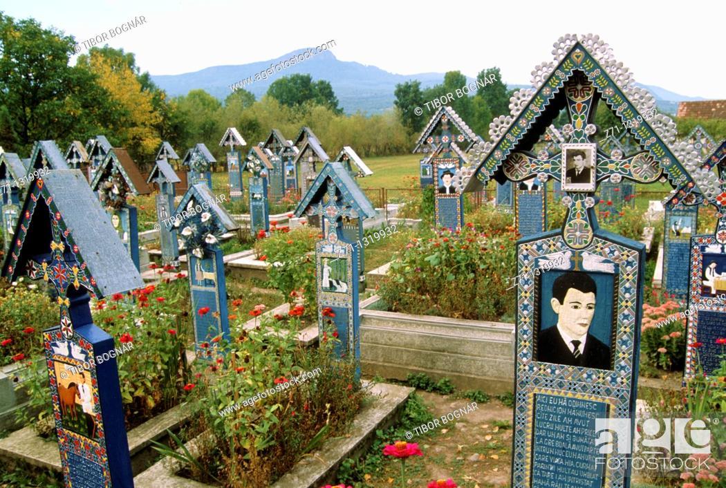 Stock Photo: Romania, Maramures, Sapanta, Merry Cemetery,.