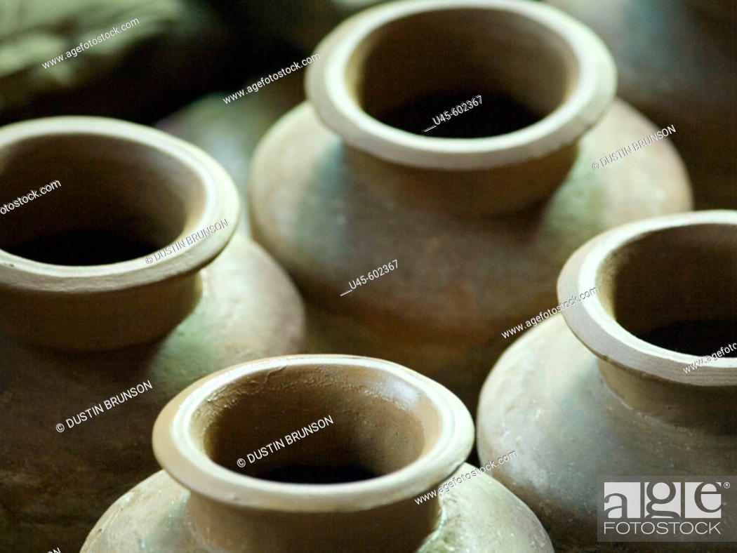 Stock Photo: Unfinished clay pots made by local artisans in Dzongsar in Kham, Tibet.