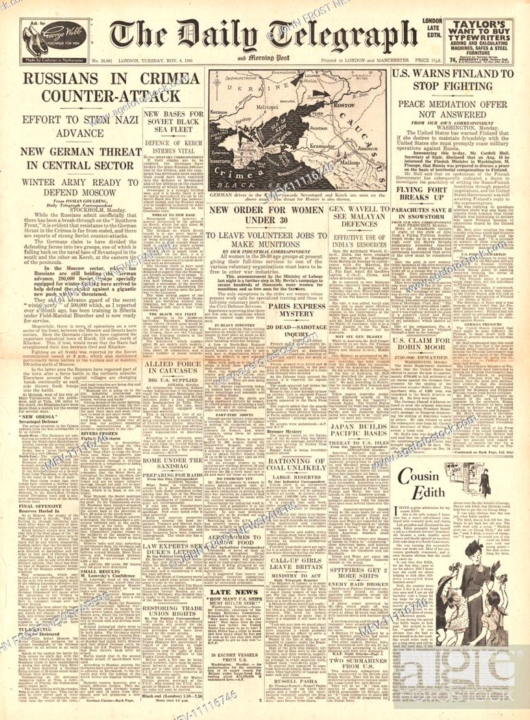 1941 front page Daily Telegraph Russians in Crimea counter attack