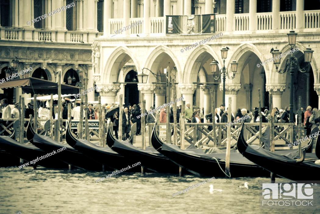 Stock Photo: Gondolas in front of Palazzo Ducale.