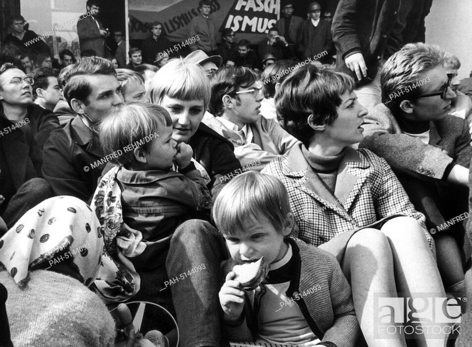 Stock Photo: Students at a sit-down strike at the entrance to the university building in Frankfurt am Main on May 24, 1968; some of the students had brought their offspring.