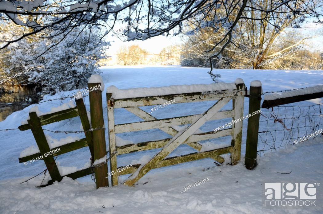 Stock Photo: A gate in the snow, Oxfordshire UK.