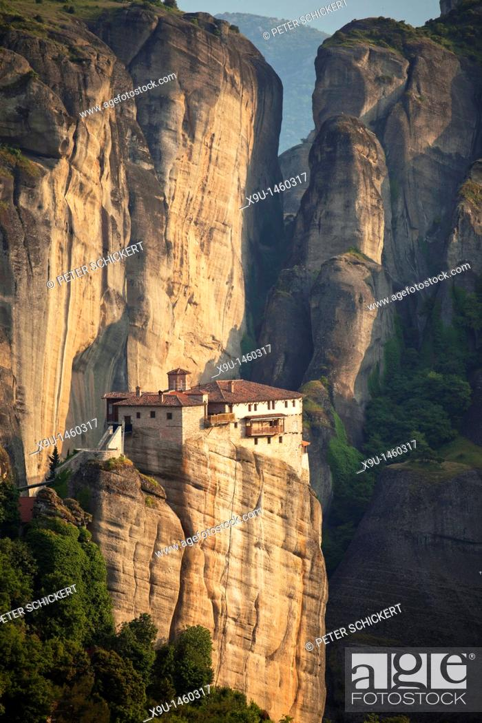 Stock Photo: Rousánou Monastery, part of the Metéora complex of Eastern Orthodox monasteries, UNESCO World Heritage in the Plain of Thessaly, Greece.