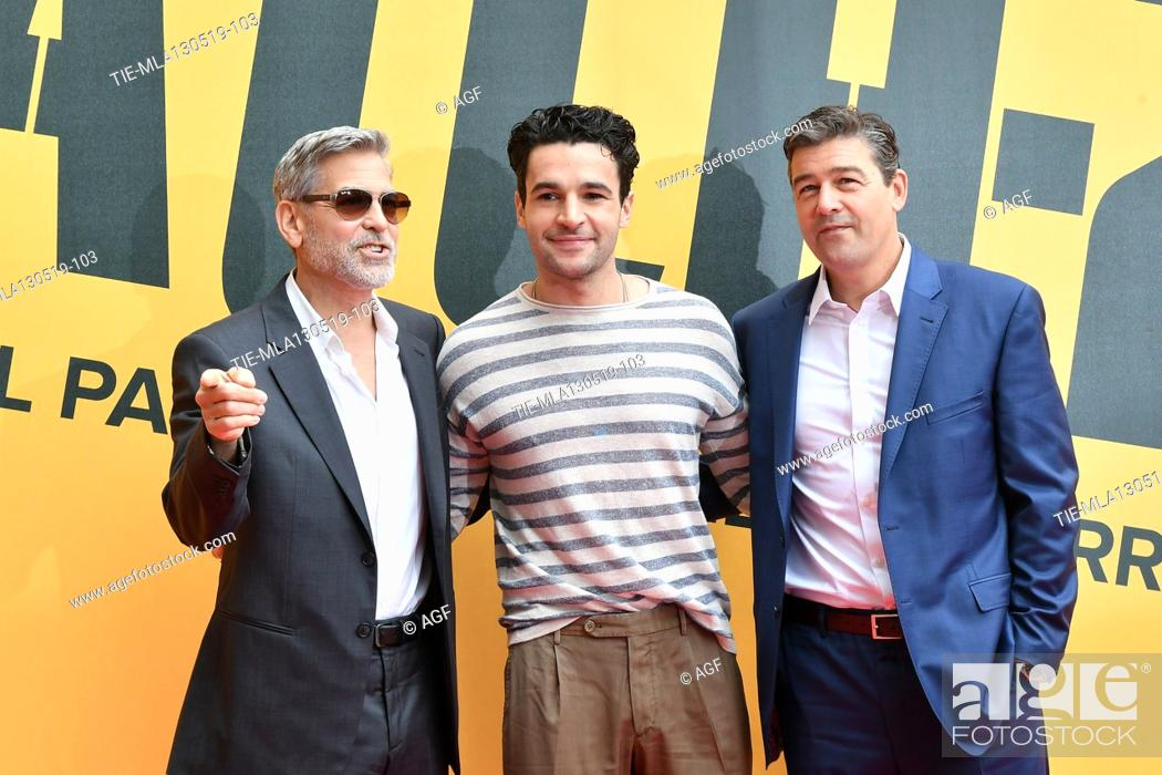 Stock Photo: George Clooney, Christopher Abbott, Kyle Chandler during 'Catch-22' TV show photocall, Rome, Italy - 13 May 2019.