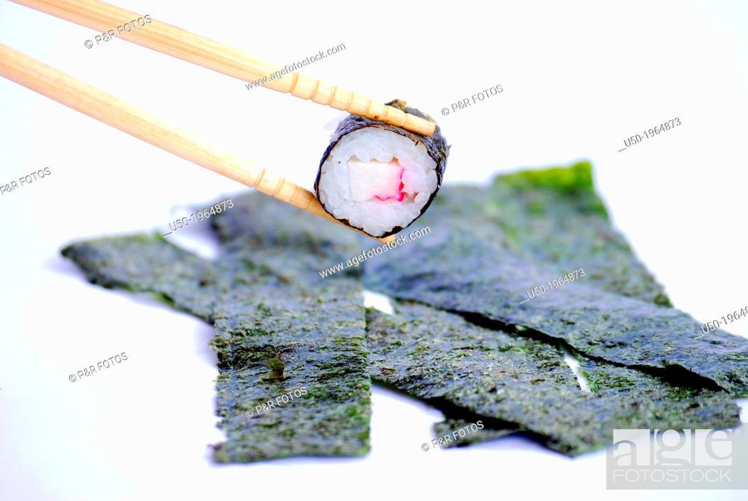 Stock Photo: Sushi, dish made from marine red algae Porphyra sp.
