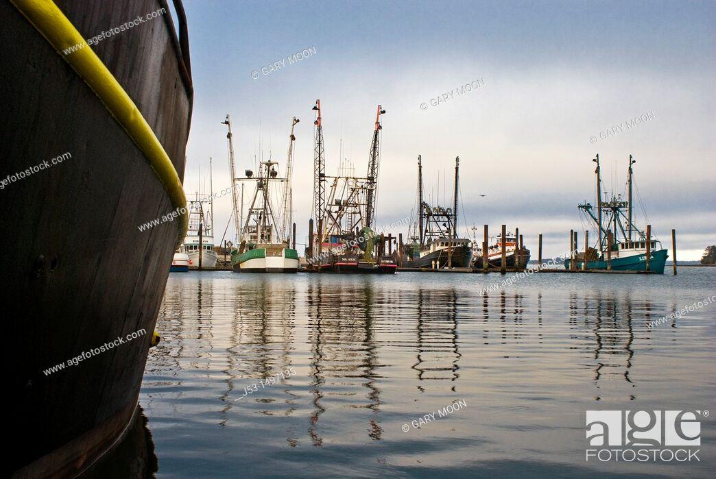Stock Photo: Commercial fishing boat harbor, Charleston, Oregon.