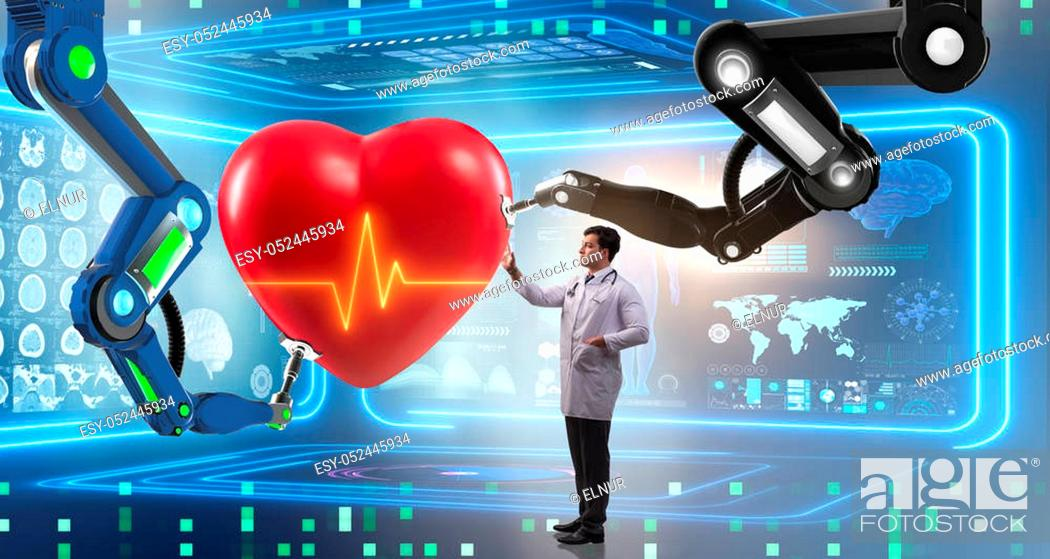 Stock Photo: Heart surgery done by robotic arm.