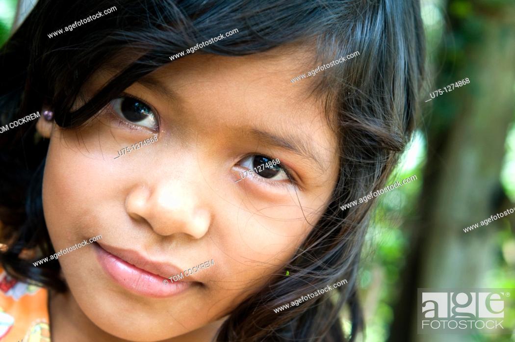 Stock Photo: Girl at Sisophan, Cambodia,.