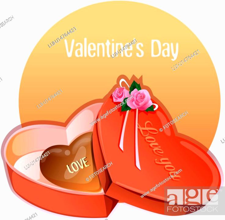 Stock Photo: chocolate, event, valentine`s day, anniversary, Valentine, gift box, imagediary.