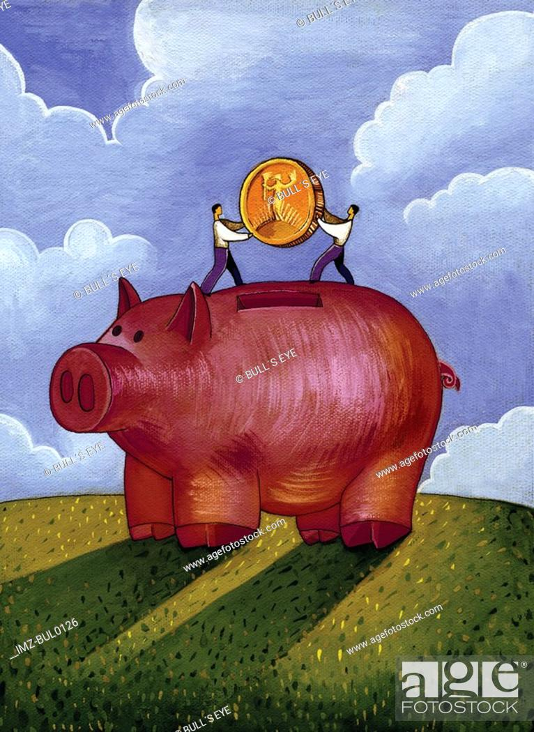 Stock Photo: Two men putting a large gold coin into a giant piggy bank.