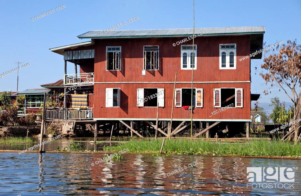 Captivating Stock Photo   Myanmar, Burma Houses On Stilts, Inle Lake Village, Shan State