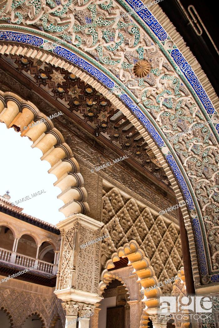 Stock Photo: The Royal Fortresses Reales Alcazares of Seville are a fortified palatial complex, originally a Moorish fort from the 12th century.