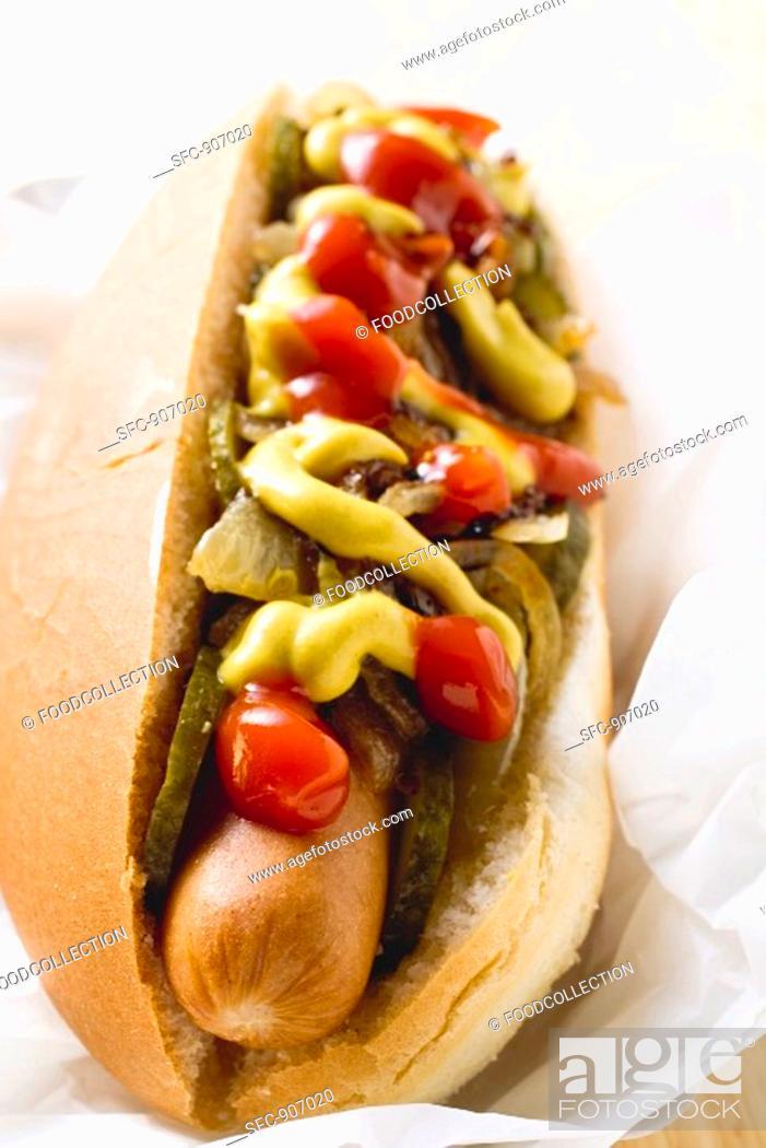 Stock Photo: Hot dog with ketchup and mustard.