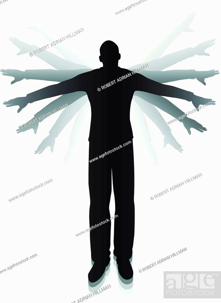 Stock Vector: Editable vector silhouette of a man flapping his arms trying to fly.