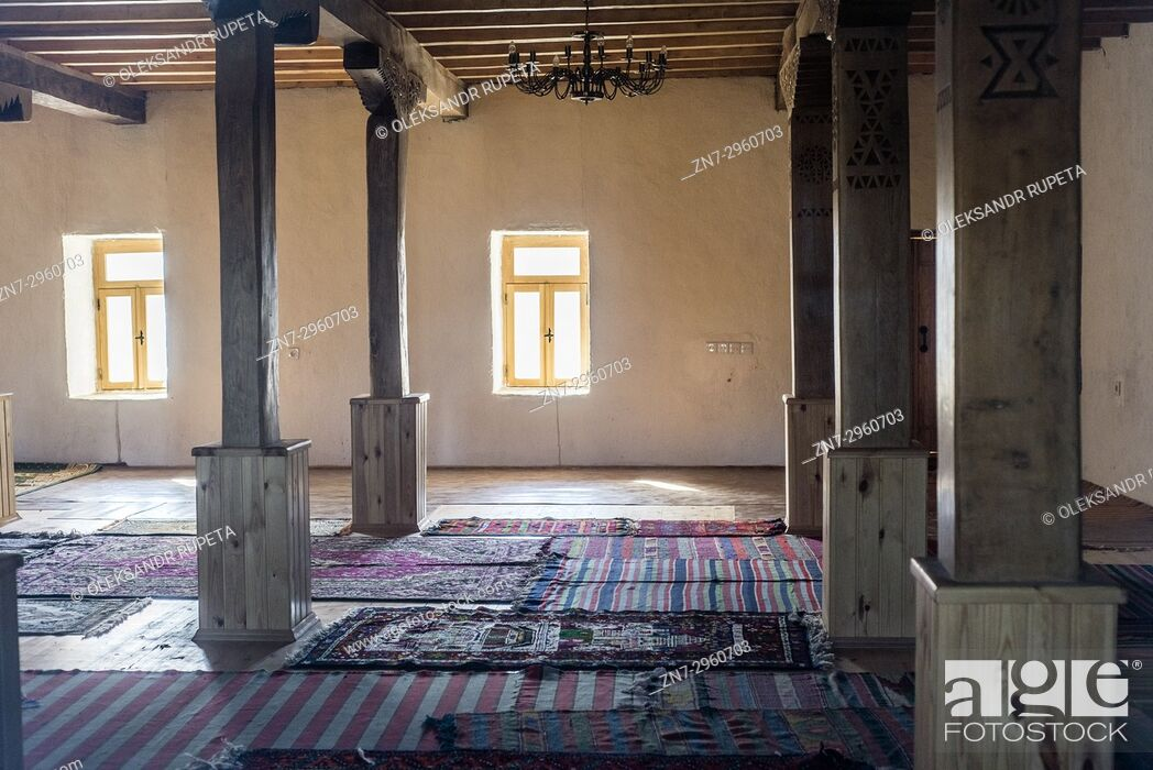 Stock Photo: Mosque on the top of Khinalig village. Khinalig is an ancient village deep in the Caucasian mountains on the height of more than 2.
