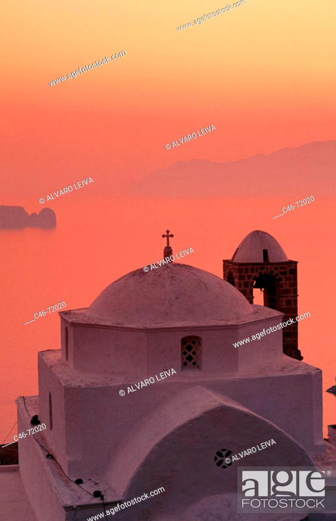 Stock Photo: Church, Milos island. Cyclades island, Greece.