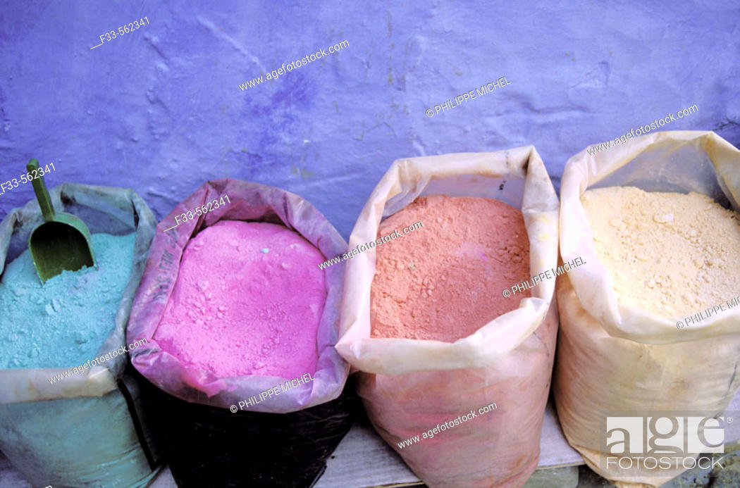 Stock Photo: Color powder for painting, Chefchaouen. Rif region, Morocco.