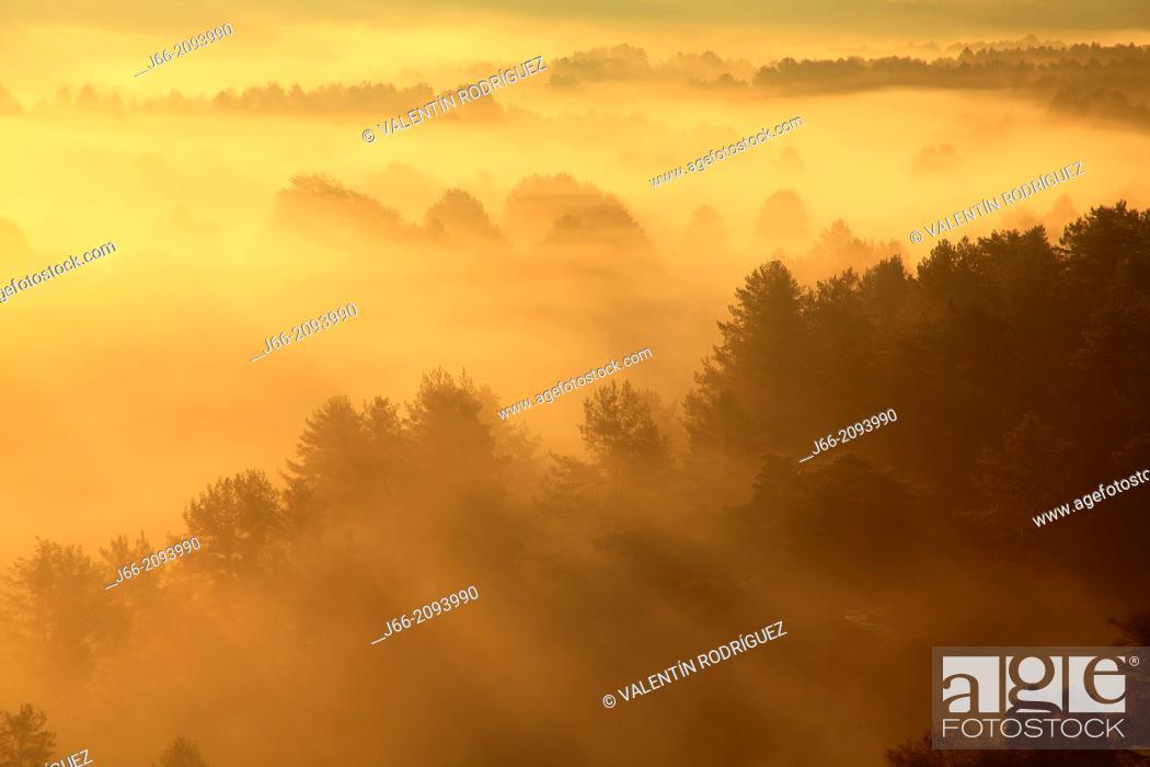 Stock Photo: Landscape at sunrise in autumn, Serrania de Cuenca Natural Park. Cuenca province, Castile La Mancha, Spain.