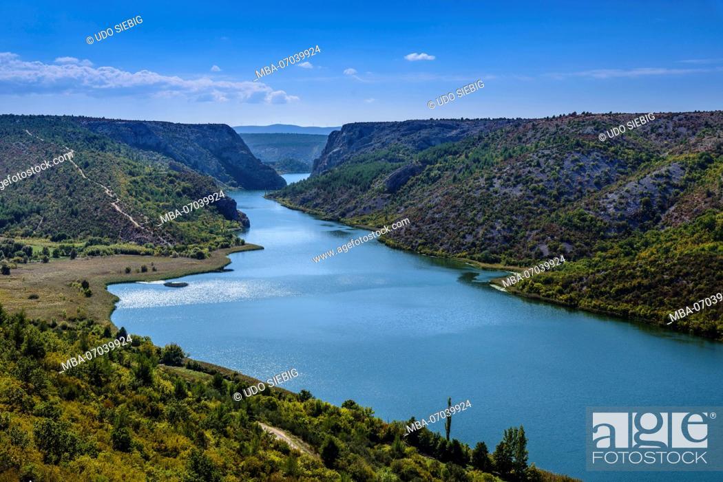 Stock Photo: Croatia, Dalmatia, region of Sibenik, Krka National Park, Visovac lake at Roski Slap.