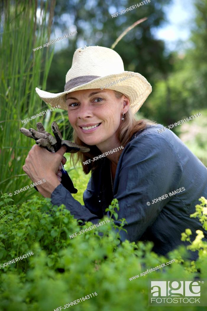 Stock Photo: Portrait of smiling mature woman working in garden.