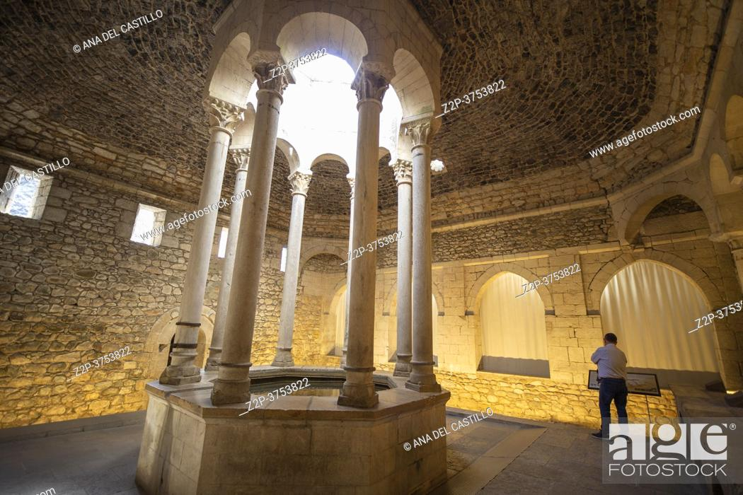 Stock Photo: Gerona Catalonia Spain on September 28, 2020, the old town in a summer morning. The arab baths.