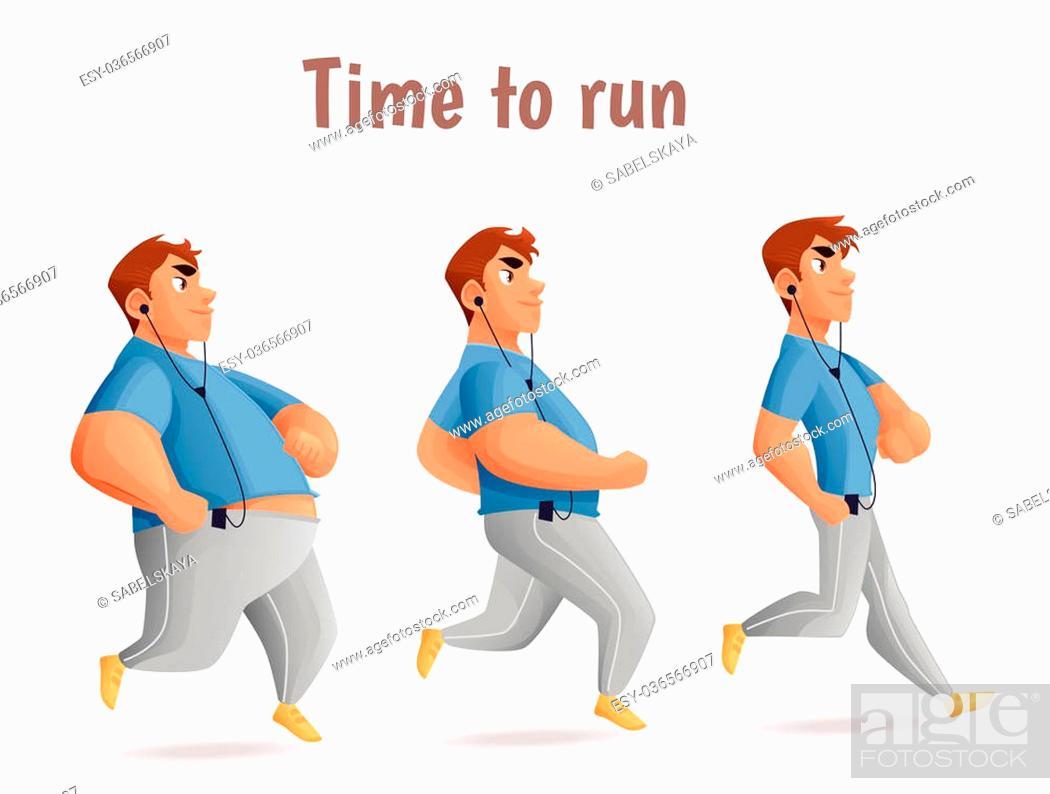 Evolution Slimming men, cartoon illustration of three men of ...