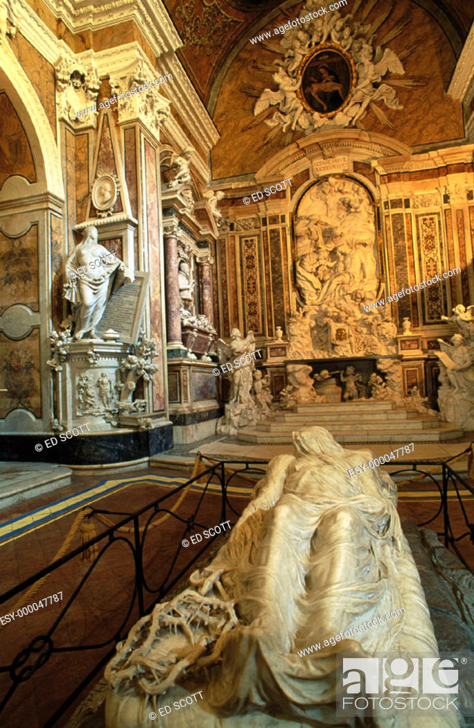 Stock Photo: The 'Cristo Velato' (Veiled Christ), by Giuseppe Sanmartino. San Severo Chapel. Naples. Italy.