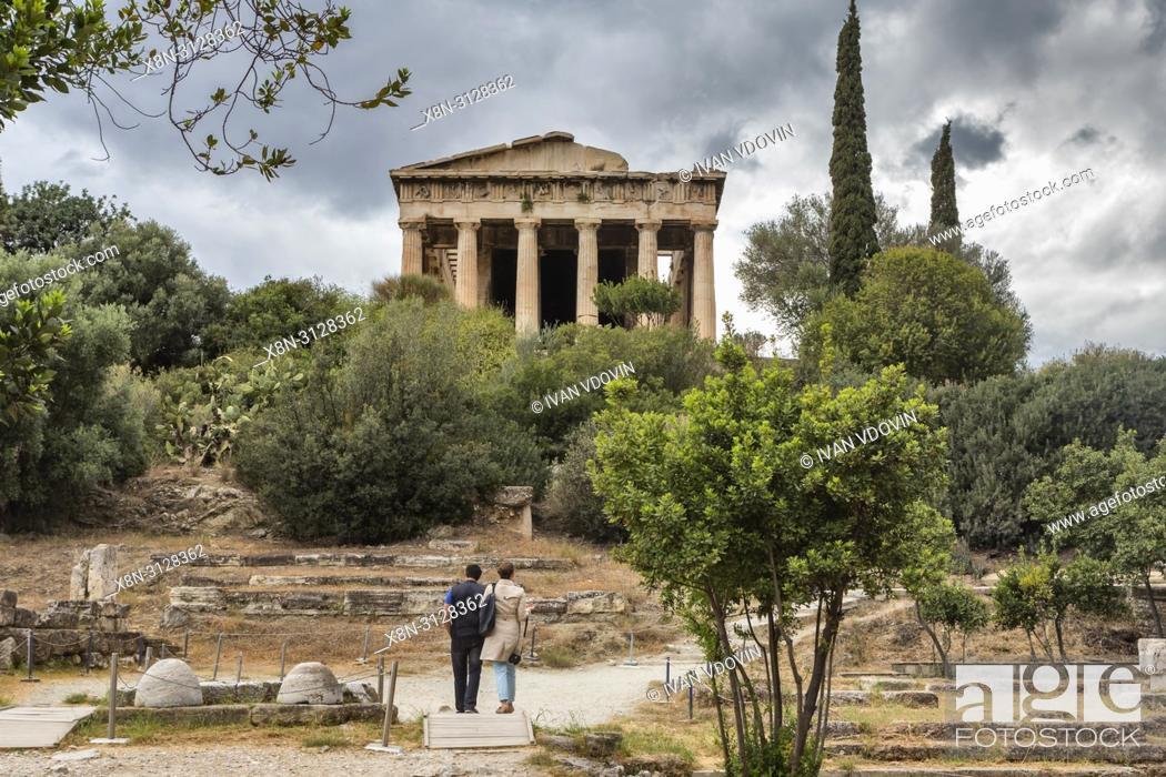 Stock Photo: Temple of Hephaestus, Hephaestion, Theseion (415 BC), Ancient Agora, Athens, Greece.