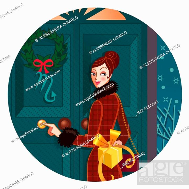 Stock Photo: A Scorpio woman with a gift behind her back as she rings a doorbell.