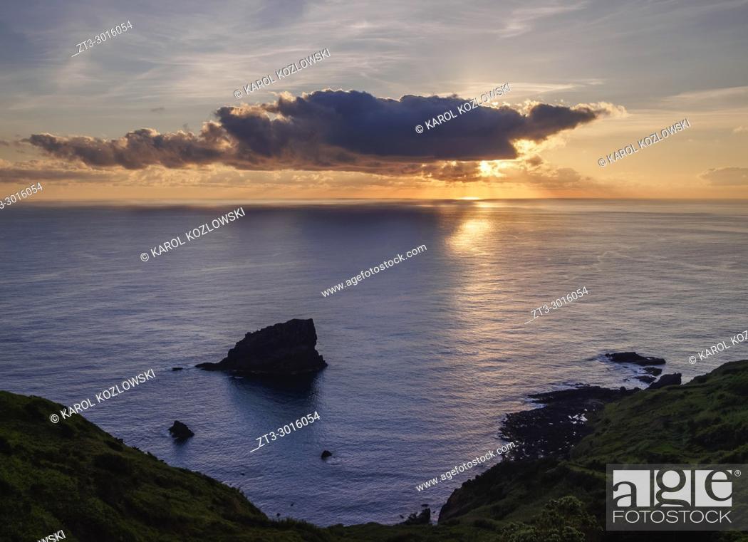 Stock Photo: Sunset near Lajedo, Flores Island, Azores, Portugal.