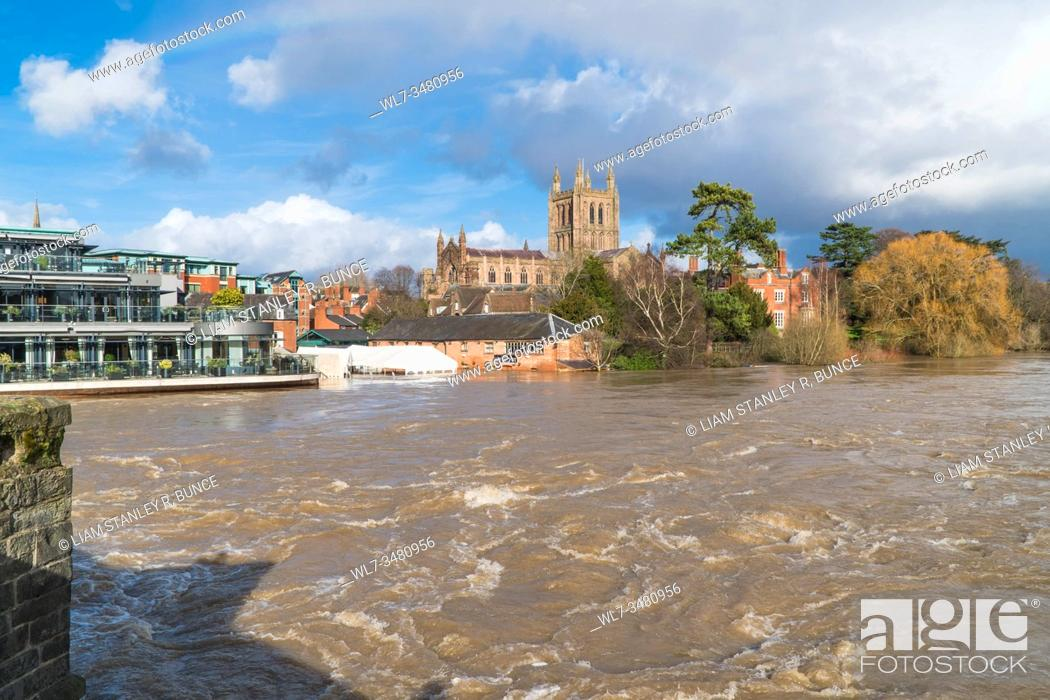 Stock Photo: Left Bank restaurant seeing record levels of flood water recorded on the river Wye threatening property and lives, Hereford Herefordshire UK.