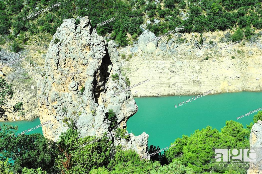 Stock Photo: The reservoir of Canelles on the river Noguera-Ribagorzana. Lerida province, Spain.