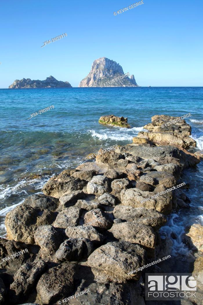 Stock Photo: Hort Cove Beach and Vedra Island; Ibiza; Spain;.