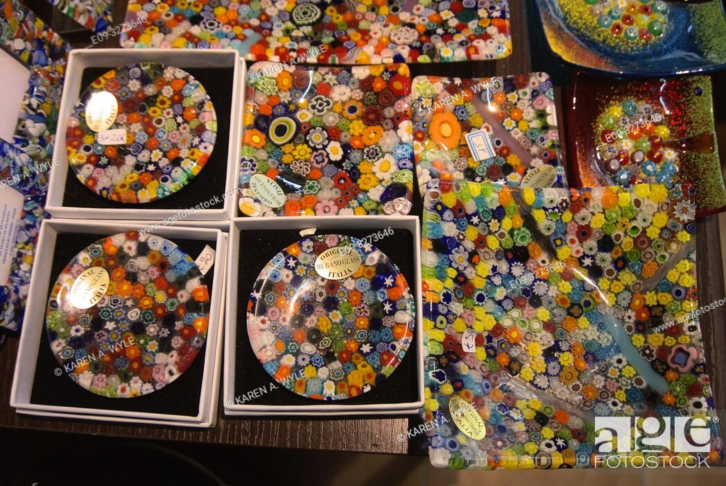 Stock Photo: dishes of Murano glass, shop window in Venice, Italy.