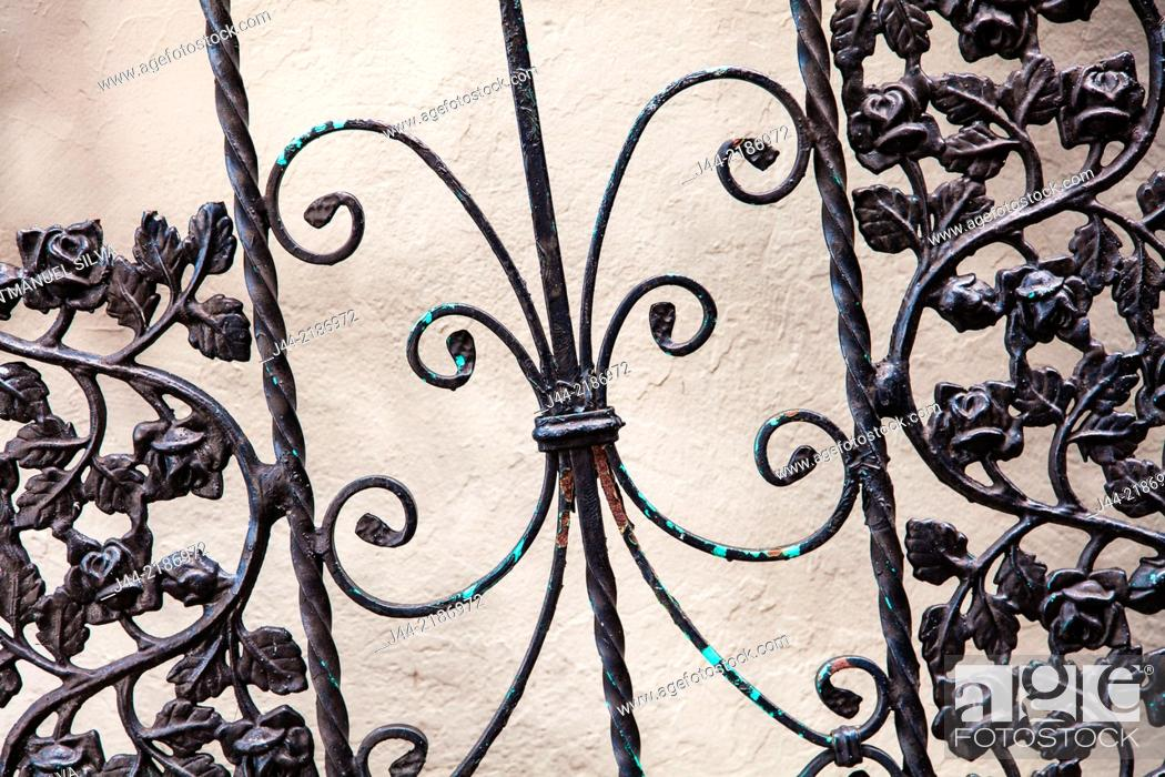 Stock Photo: Wrought iron gate on the street, Little Havana, Miami, Florida, USA.