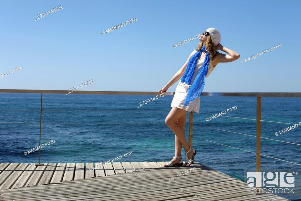 Stock Photo: Woman in Praia de Vale de Centeanes, Carvoeiro, Lagoa, Algarve, Portugal.