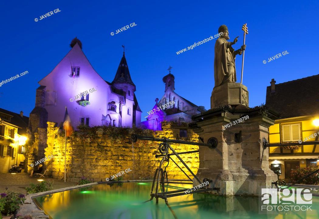 Stock Photo: Nightfall in Eguisheim, Haut-Rhin, Grand Est, France.