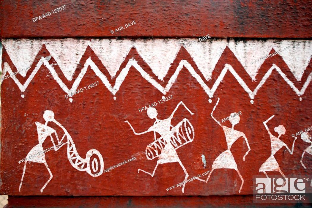 Tribal art warli painting maharashtra india stock photo stock photo tribal art warli painting maharashtra india thecheapjerseys Gallery